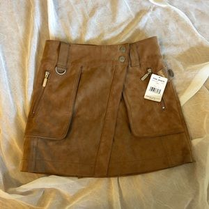 Free People Suede Skirt in brown.